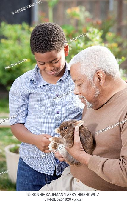 African American grandfather and grandson with rabbit