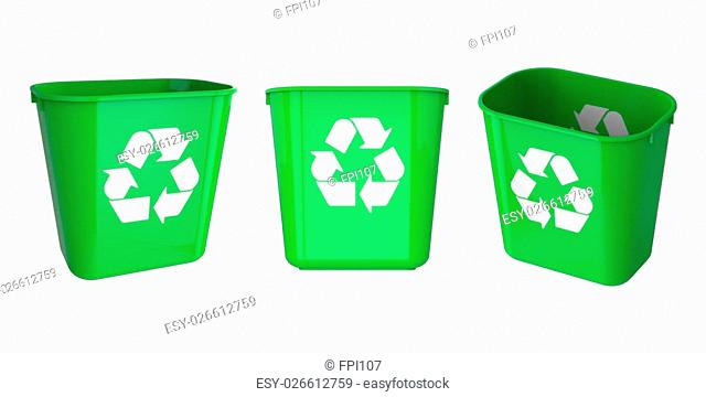 Recycle green garbage can plastic isolated on white background.Easy editable for your design