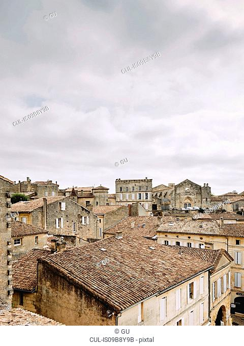 Elevated cityscape with rooftops and medieval buildings, Saint-Emilion, Aquitaine, France