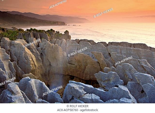 Sunset at the Pancake Rocks at Punakaiki, West Coast, South Island, New Zealand