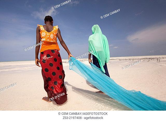 Young muslim girls in colorful dress with fishnet on Jambiani beach, Zanzibar Island, Tanzania, East Africa