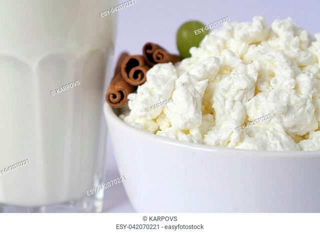 glass cup with milk, white porcelain dish with cottage cheese, cinnamon. white background