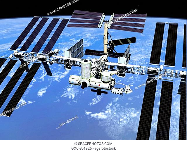 This artist's concept shows the International Space Station when its assembly sequence is completed in 2003, with a third connecting module, or node