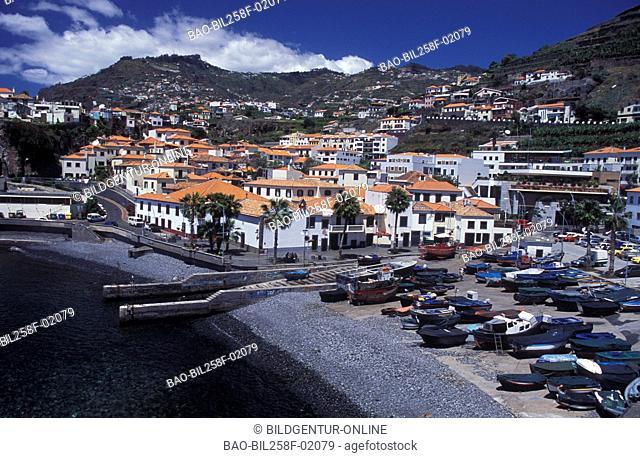 The fishing village of Camara de Lobos on the island Madeira in the Atlantic
