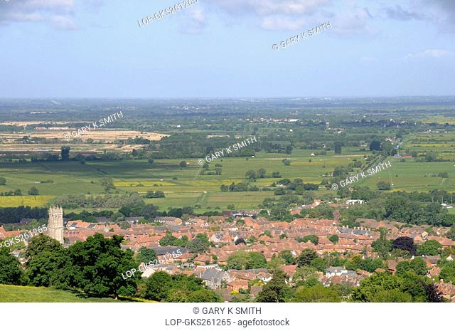 England, Somerset, Glastonbury. View from Glastonbury Tor over the town of Glastonbury and the Somerset Levels
