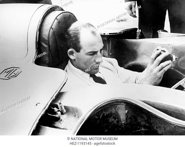 Stirling Moss in the MG EX181, 1957. On the 23rd August 1957, Stirling Moss achieved an international land speed class F (1100-1500cc) record of 245mph in the...