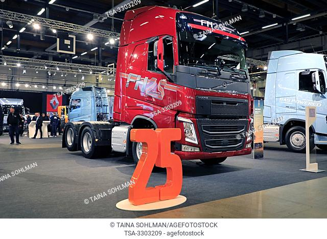 Helsinki, Finland. 09 May, 2019. Volvo Trucks presents Volvo FH 25 Year Special Edition on Transport-Logistics 2019. Credit: Taina Sohlman/agefotostock
