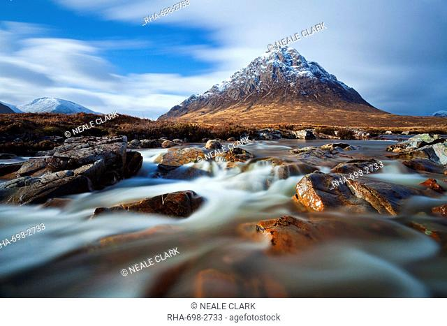 Buachaille Etive Mor and the River Coupall at the head of Glen Etive, Glen Coe end of Rannoch Moor, Highlands, Scotland, Highlands, United Kingdom, Europe