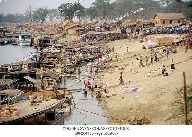 Boatlanding in Mandalay. Myanmar (Burma)