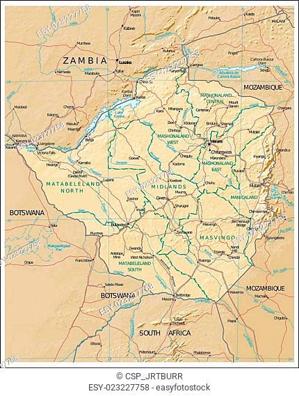 Zimbabwe Physiography map