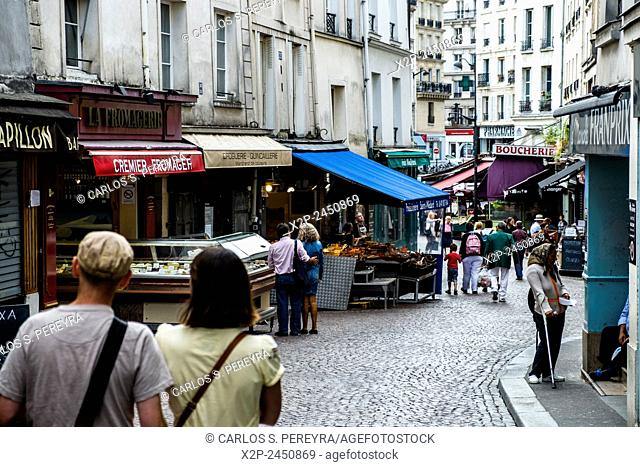 Market of Rue Mouffetard street in Paris, France