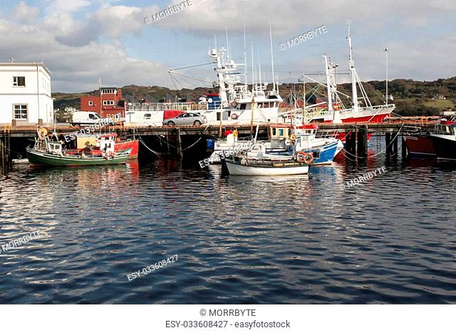 fishing boats moored in the calm waters of Killybegs harbour