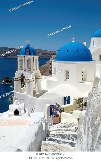 Greece, Santorini, Oia. A small chapel among the winding steps of Oia