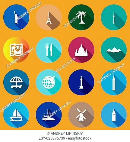 Flat icons for travel to world landmarks. flat icons with long shadows