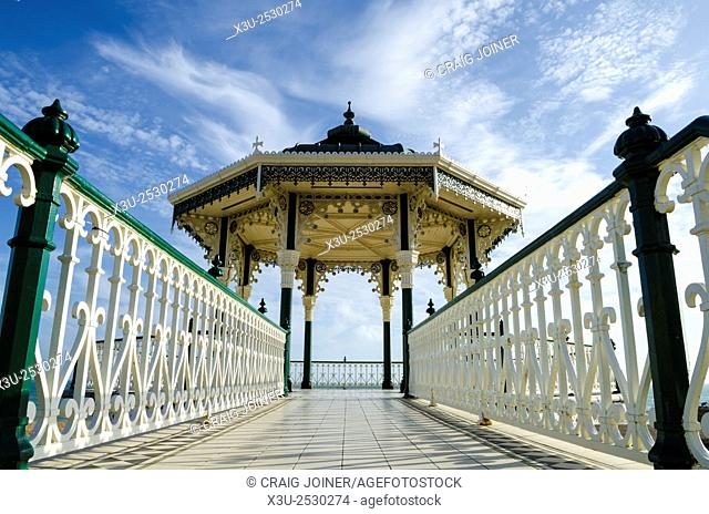The Bandstand on the Brighton and Hove seafront in summer, East Sussex, England