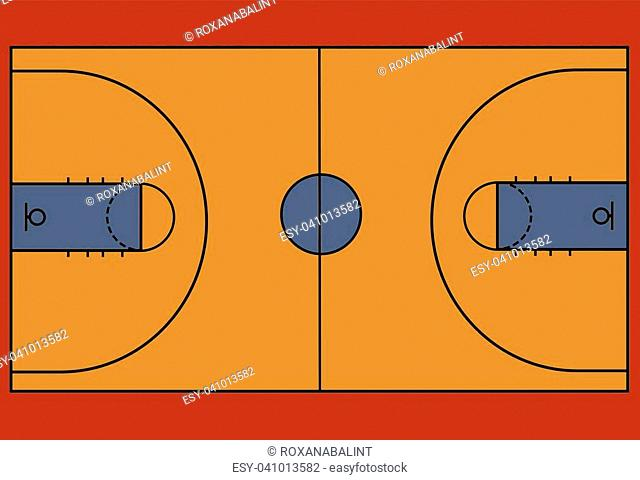 Basketball court floor with line, vector illustration