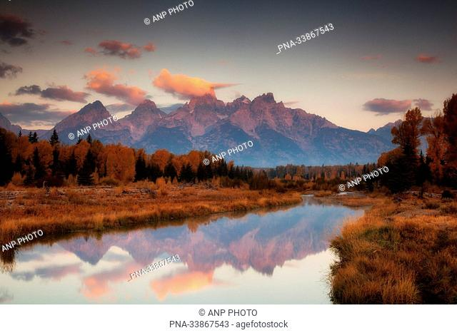Grand Teton national Park, Mount Moran, Oxbow Bend, Snake River, Rocky Mountains, Wyoming, United States of America, USA, North America