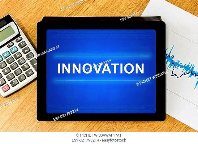 innovation word on digital tablet