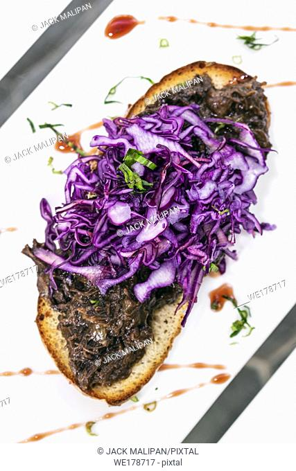 portuguese stewed beef and red cabbage toasted open sandwich tapas snack