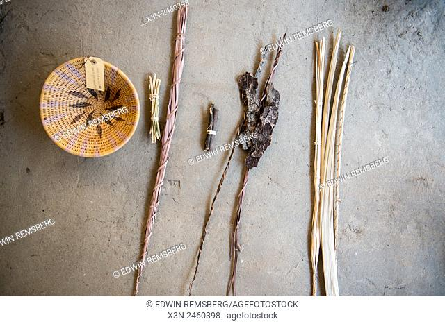 Maun, Botswana, Africa- Handwoven bowl and supplies to make it, in Sexaxa Village
