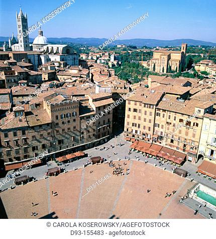Piazza del Campo and Duomo, view from Mangia Tower. Siena. Italy