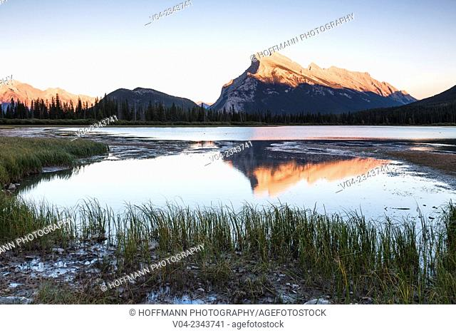 Mount Rundle and Vermillion Lake at sunset in the Banff National Park, Alberta, Canada