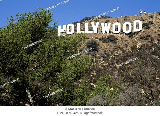 United States, California, Los Angeles, Santa Monica Mountains, Griffith Park, the famous Hollywood sign