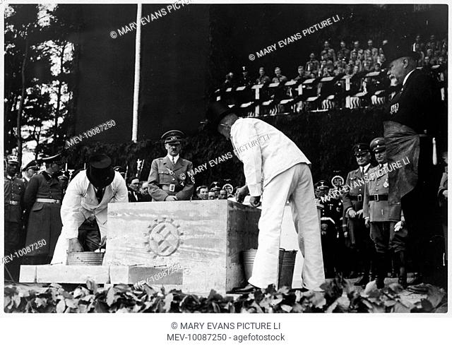 Ceremony laying the foundation stone for the great car-works which was to produce the KDF Wagen (Volkswagen)