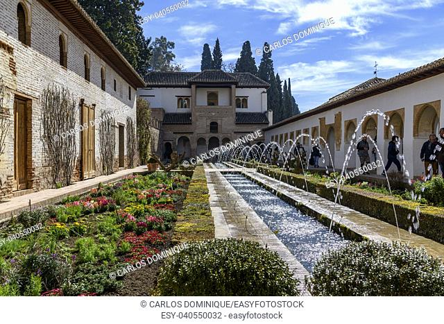 Water garden in the Palace of Generalife in the Alhambra Granada,Spain