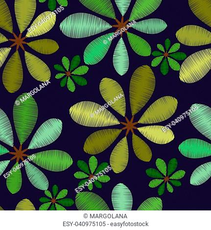 Vector Embroidery foliage seamless pattern with green leaves on dark background