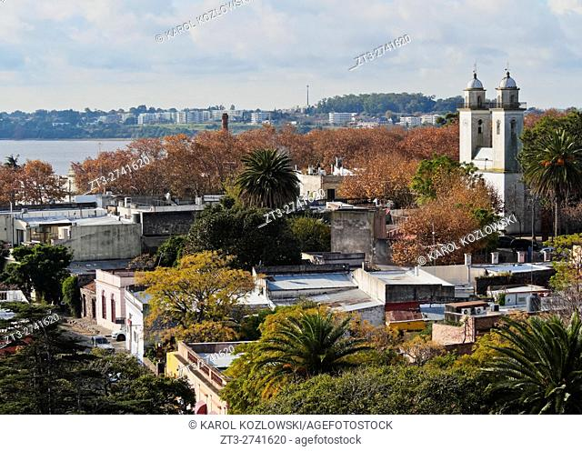 Uruguay, Colonia Department, Colonia del Sacramento, Elevated view of the historic quarter with characteristic building of the Basilica of the Holy Sacrament