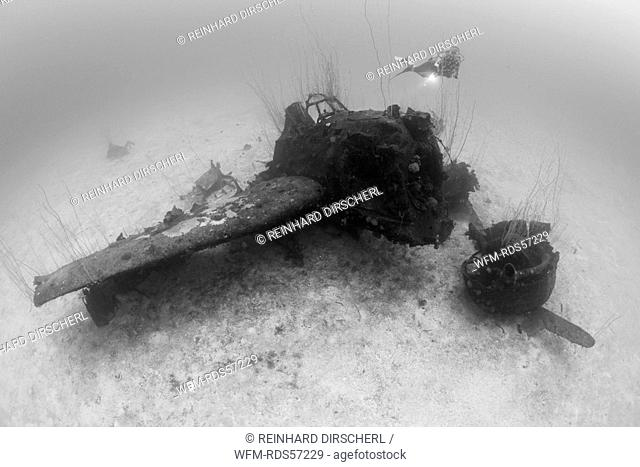 Diver and Bomber on Port Side of USS Saratoga, Bikini Atoll, Micronesia, Pacific Ocean, Marshall Islands