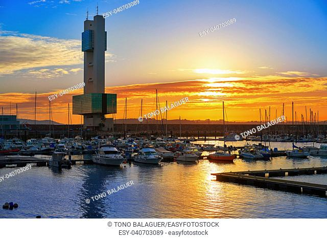 La Coruna Port sunrise in Galicia of Spain