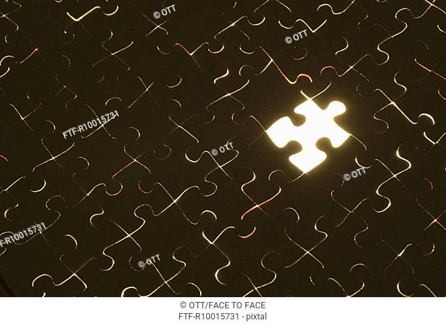 A blank space is seen in the make of the entire attachment of a puzzle