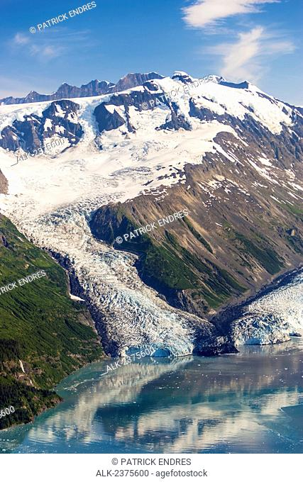 Aerial of Cascade and Barry tidewater glaciers that meet in Barry Arm, Prince William Sound, Southcentral Alaska