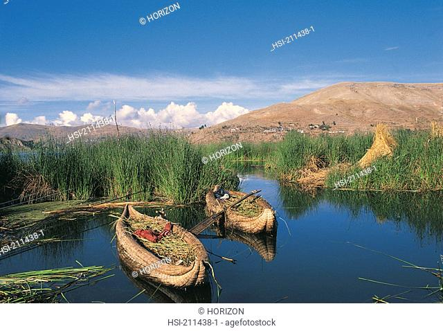Lake Titicaca reed boats in Peru, Bolivia