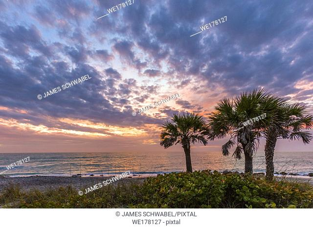 Sunset over Gulf of Mexico at Caspersen Beach in Venice Florida in the United States