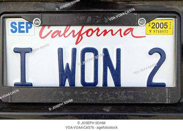 "California license plate reads ""I Won 2"""