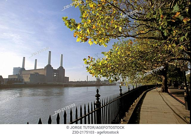 Walk beside the River Thames overlooking Battersea Power Station, London, UK