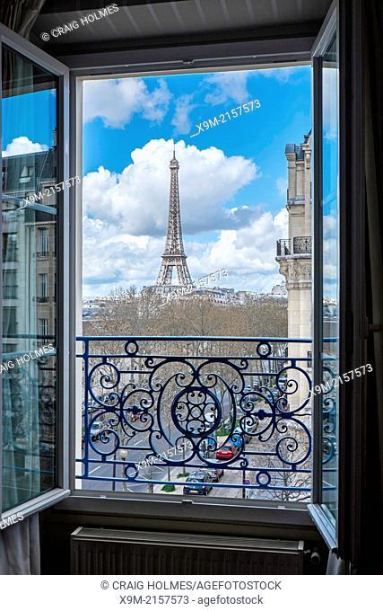 The Eiffel Tower, Paris, France, viewed through an open window