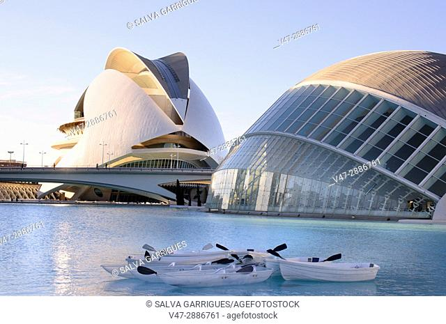 Canoes for tourists on the lake of the City of Arts and Sciences, Valencia, Spain