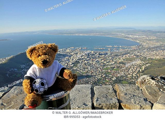 Soccer teddy bear in front of a view over Cape Town from Table Mountain, South Africa