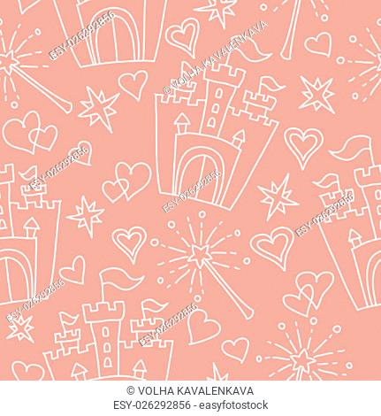 Hand drawn seamless vector pink pattern of little princess doodles. Background for use in design, web site, textile. T-shirt Graphics. Girl print