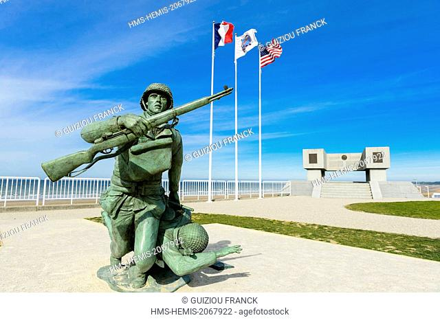 France, Calvados, Saint Laurent sur Mer, Omaha beach, historic place of the Normandy Landings, celebration of the 70th anniversary of D Day and the Battle of...