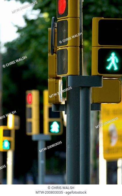 Traffic lights green figure crossing pedestrian