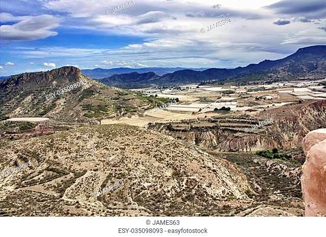 landscape of the mountains of Sierra Espuña in Cartagena Spain