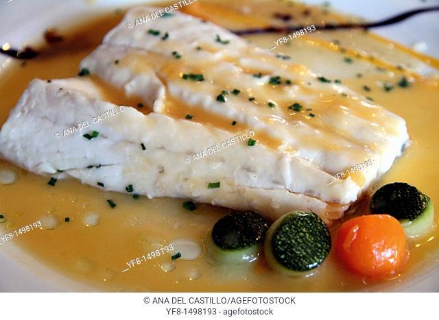 Fillet of hake in seafood sauce Vitoria Spain