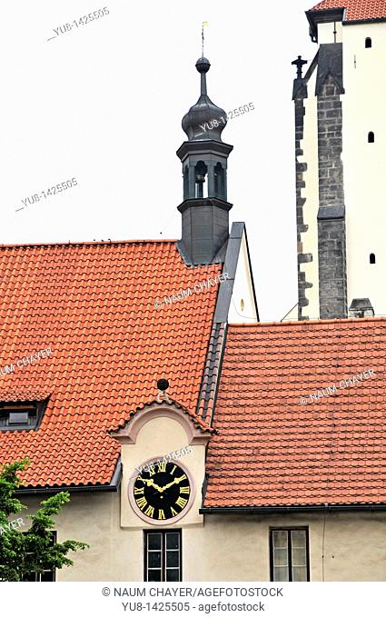 Building with clock and tower, Prague, Czech Republic, Central Europe