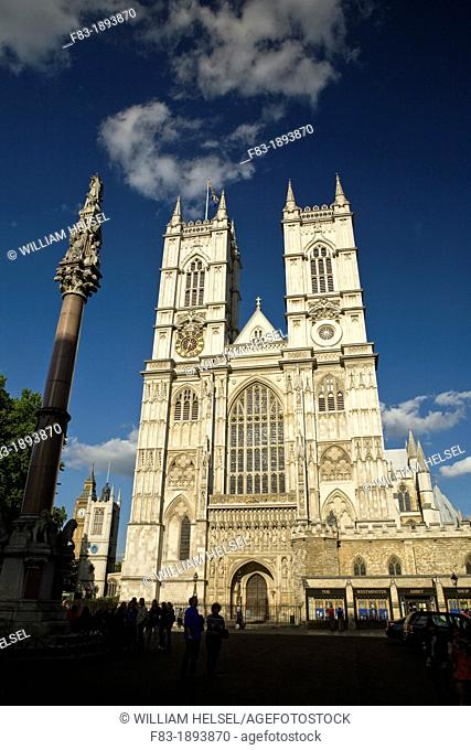 West front, Westminster Abbey, Big Ben clock tower in distance, Westminster, London, England