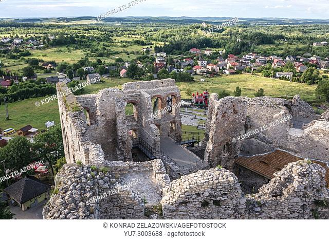 Ruins of Ogrodzieniec Castle in Podzamcze village, part of the Eagles Nests castle system in Silesian Voivodeship of southern Poland
